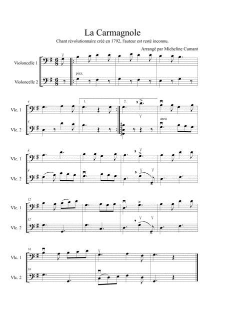 La Carmagnole-Chant Révolutionnaire de 1792 pour 2 violoncelles