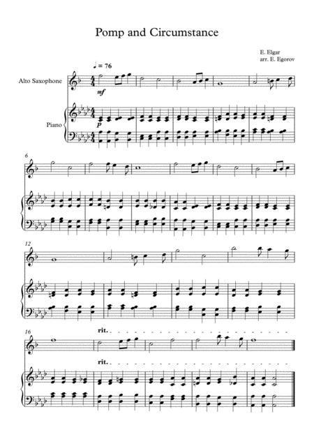 Pomp and Circumstance, Edward Elgar, For Alto Saxophone & Piano