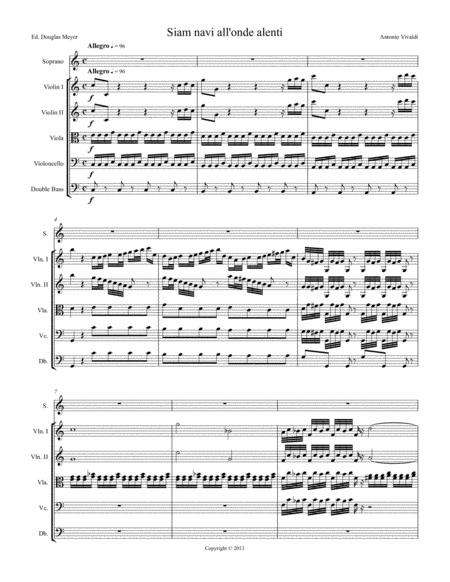 Siam navi all'onde algenti, soprano aria from L'Olimpiade -  (score and parts)