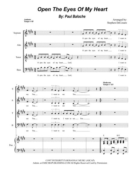 Open The Eyes Of My Heart (for SATB)