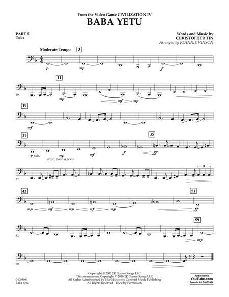 Baba Yetu (from Civilization IV) (arr. Johnnie Vinson) - Pt.5 - Tuba