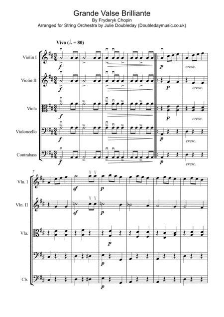 Chopin: Grande Valse Brilliante for String Orchestra - Score and Parts