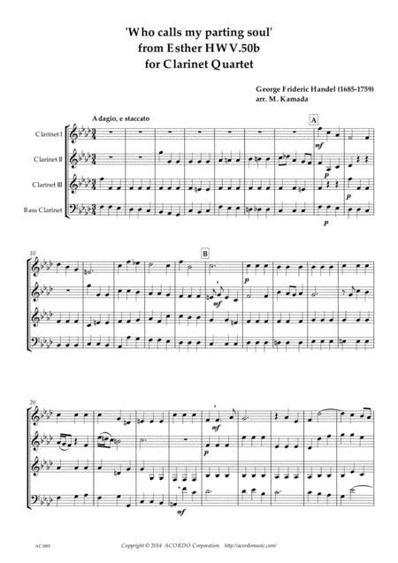 Who calls my parting soul' for Clarinet Quartet from Esther HWV.50b