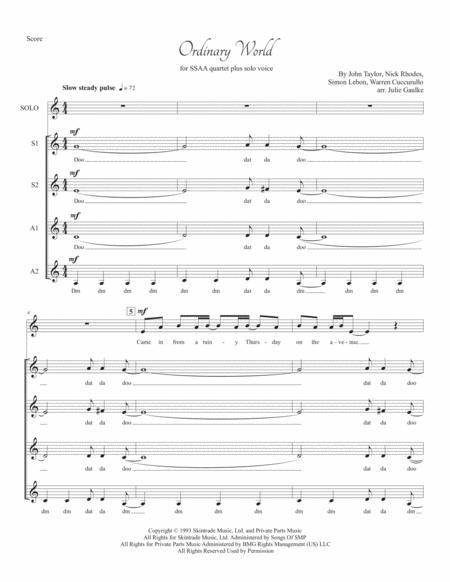 Ordinary World (Duran Duran) for SSAA a cappella plus solo