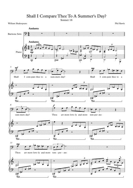 Shall I Compare Thee To A Summer's Day? - Baritone Solo