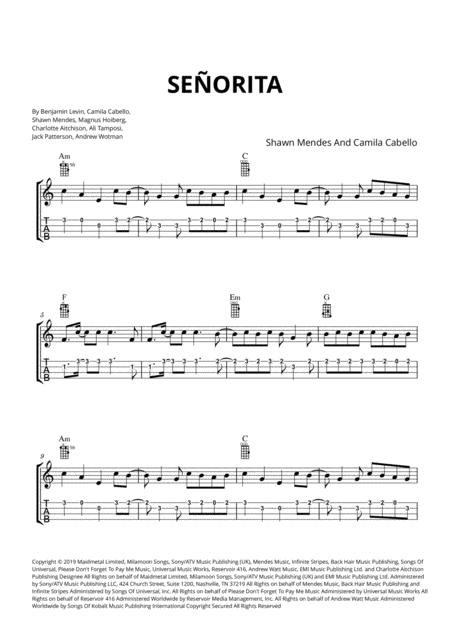 Preview Señorita (Ukulele Tabs And Chords) By Shawn Mendes