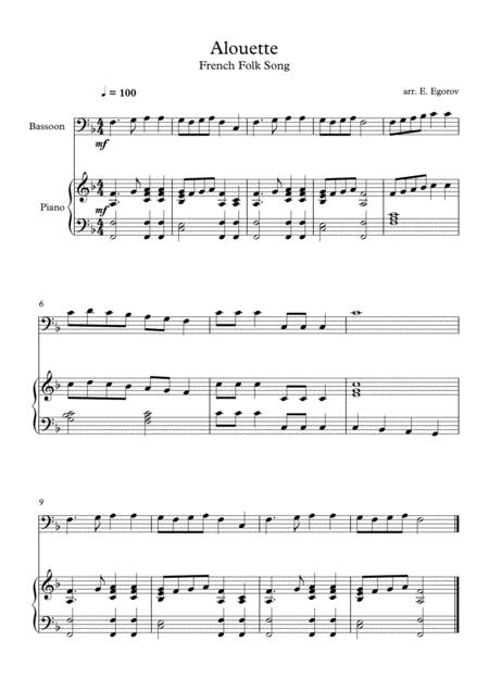 Alouette, French Folk Song, For Bassoon & Piano