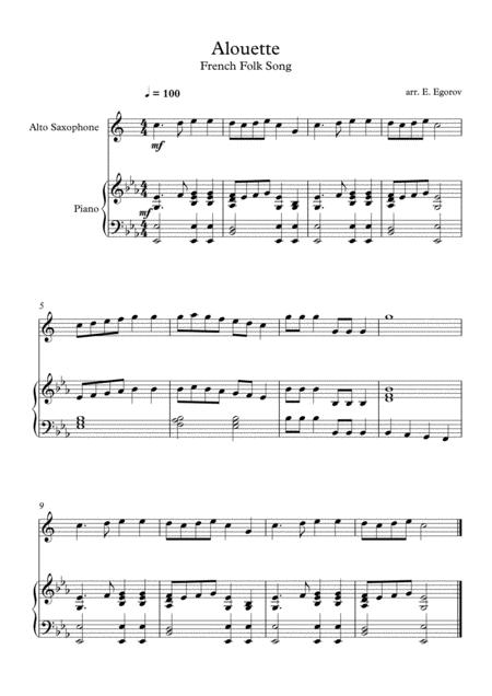 Alouette, French Folk Song, For Alto Saxophone & Piano