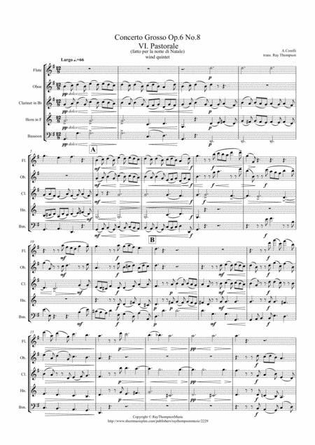 Corelli: Concerto Grosso Op.6 No.8 (Christmas Concerto) Mvt.VI Pastorale -  wind quintet