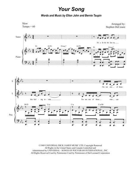 Your Song (for 2-part choir - (Soprano and Tenor)