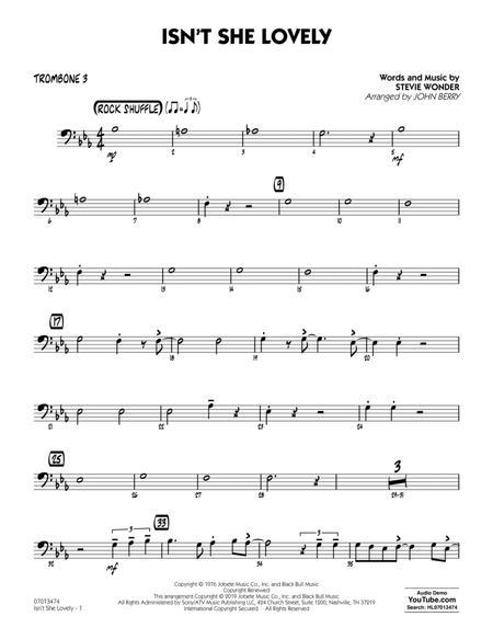 Isn't She Lovely (arr. John Berry) - Trombone 3