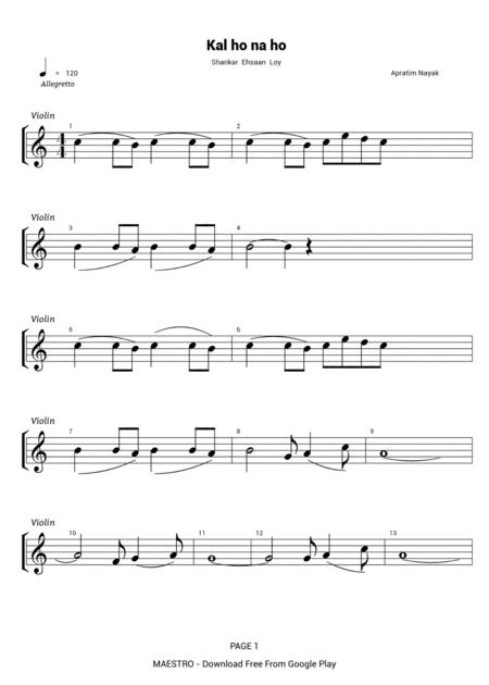 Kal Ho Na Ho For Solo Violin Flute R E Corder Guitar Vocala By Digital Sheet Music For Individual Part Lead Sheet Sheet Music Single Solo Part Download Print H0 610349 Sc001141134 Sheet Music Plus .of hindi sheet music, request sheet music for a song of your choice, variety of genre's to choose from, hindi sheet music for latest songs. kal ho na ho for solo violin flute r e corder guitar vocala