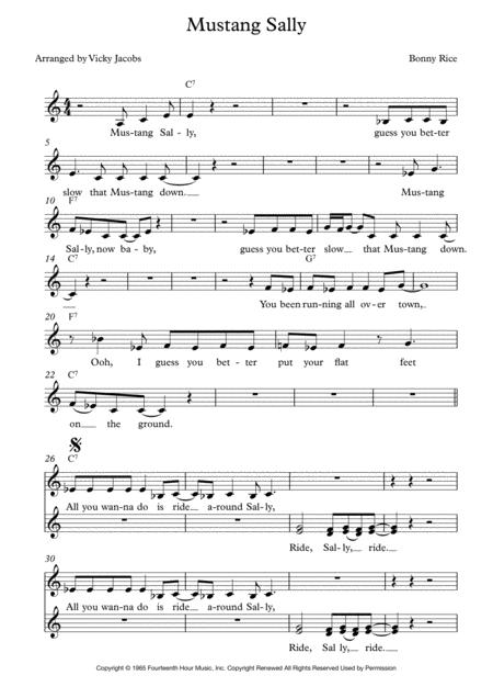 Mustang Sally - lead sheet for singalongs