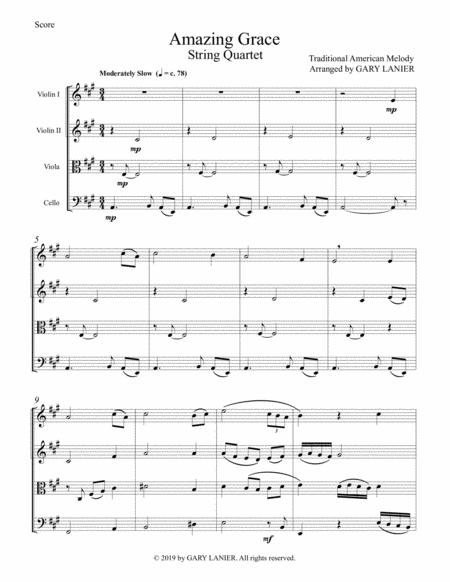 Amazing Grace (String Quartet - Violin 1 & 2, Viola and Cello - Score/Parts included)