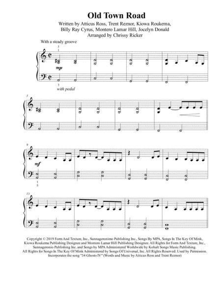 Old Town Road (remix) - intermediate piano