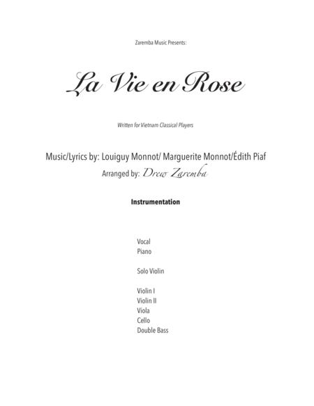 La Vie En Rose (for strings, piano, and female vocal) arr. Drew Zaremba