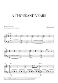 A Thousand Years - Piano Solo (Intermediate/Advanced)