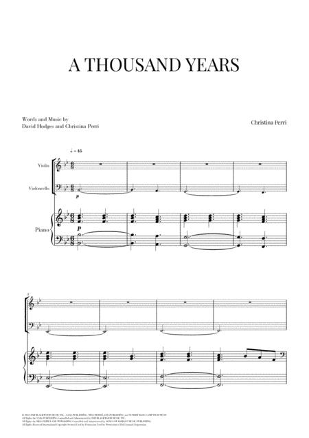A Thousand Years for Violin, Cello and Piano