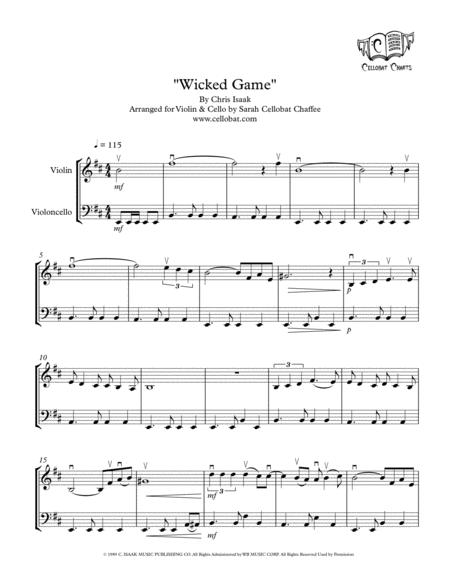 Wicked Game - Violin & Cello Duet - Chris Isaak arr. Cellobat