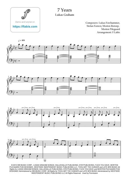 Download 7 Years - Lukas Graham Sheet Music By Lukas Graham - Sheet