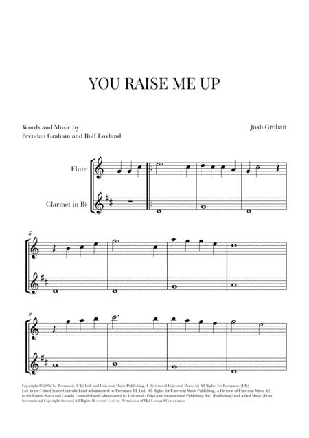 You Raise Me Up for Flute and Clarinet (Easy)