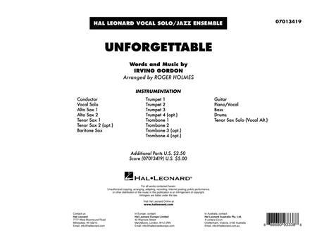 Unforgettable (arr. Roger Holmes) - Conductor Score (Full Score)