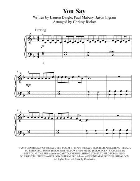 You Say - beginner/big note piano