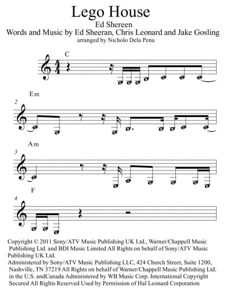 Download Lego House Sheet Music - Sheet Music Plus
