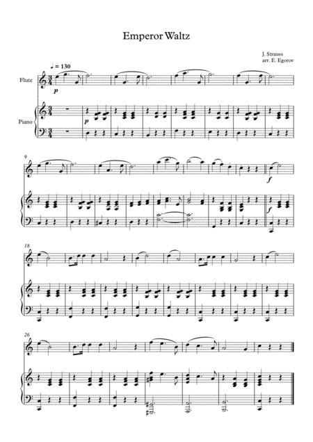 Emperor Waltz, Johann Strauss Jr., For Flute & Piano