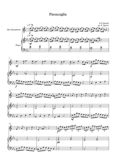 Passacaglia, Handel-Halvorsen, For Alto Saxophone & Piano