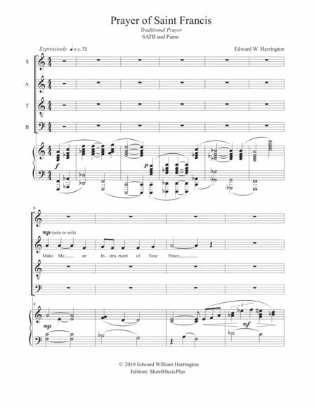 Prayer of Saint Francis, SATB & Piano