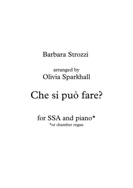 Che si può fare for SSA and piano - Barbara Strozzi
