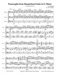 Passacaglia in G Minor, arranged for mixed-level trio (three cellos)