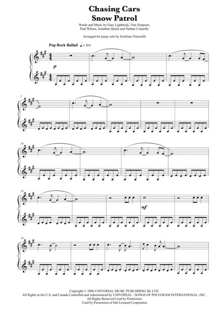 Chasing Cars - Snow Patrol - easy piano solo