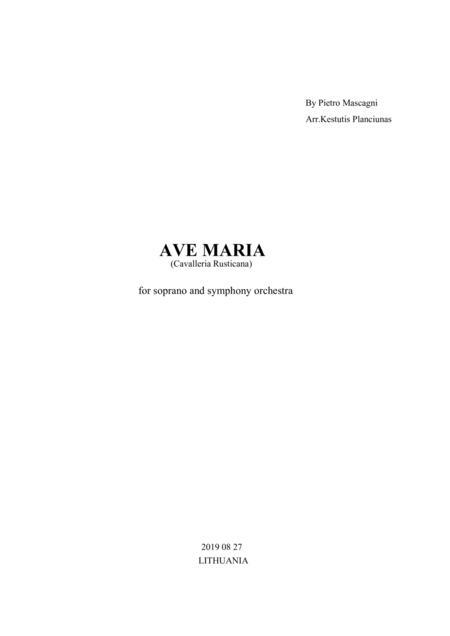 Ave Maria, Cavalleria Rusticana (For soprano and symphony orchestra)