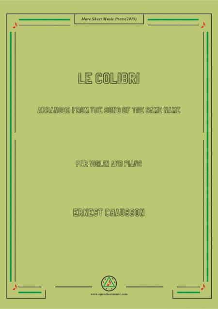 Chausson-Le colibri, for Violin and Piano