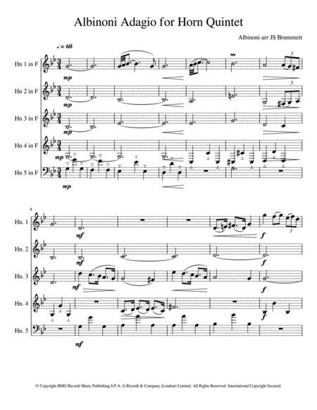 Albinoni Adagio for Horn Quintet
