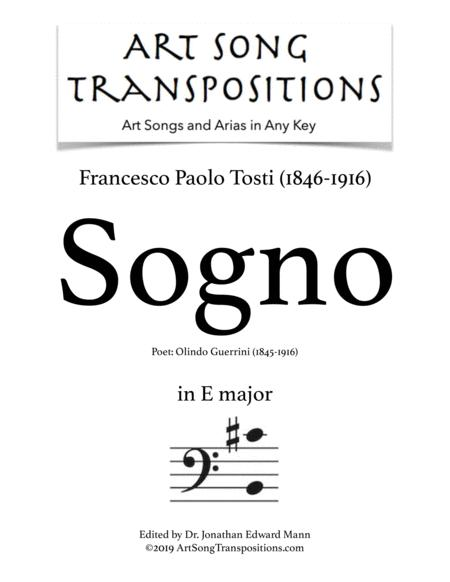 Sogno (transposed to E major, bass clef)