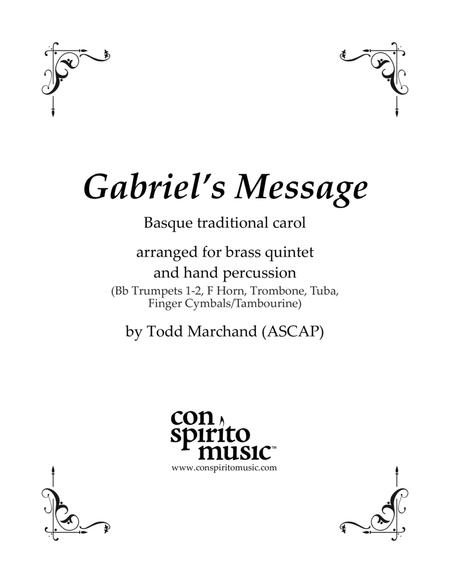 Gabriel's Message (The Angel Gabriel to Heaven Came) — brass quintet, hand percussion