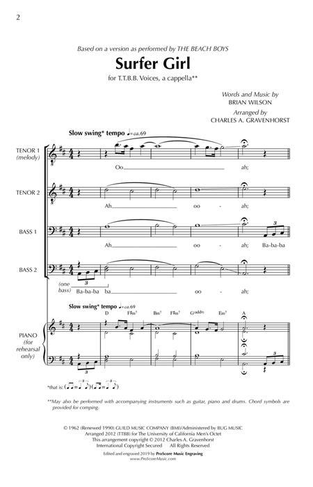 Surfer Girl – TTBB (a cappella)