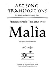 Malìa (transposed to C major, bass clef)