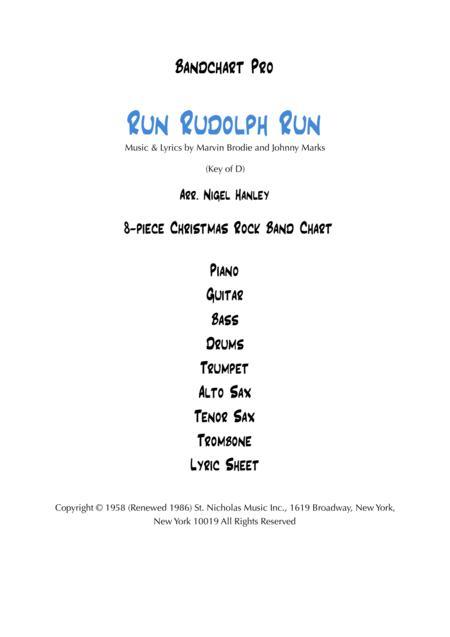 Run Rudolph Run 8pc Christmas band chart