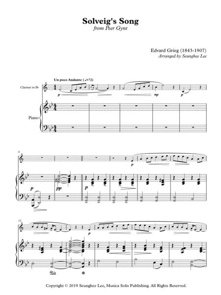 Edvard Grieg: Solveig's Song for Clarinet and Piano (Arr. Seunghee Lee)