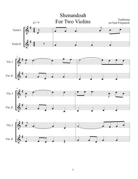 Shenandoah For Two Violins