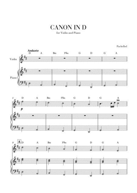 Canon in D for Violin and Piano (with Chords)
