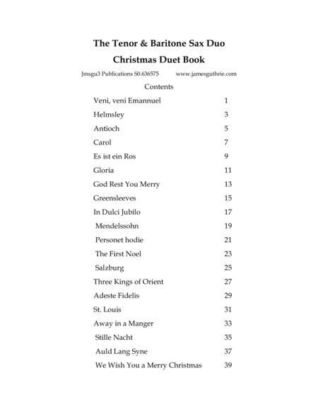 The Tenor & Baritone Sax Duo Christmas Duet Book