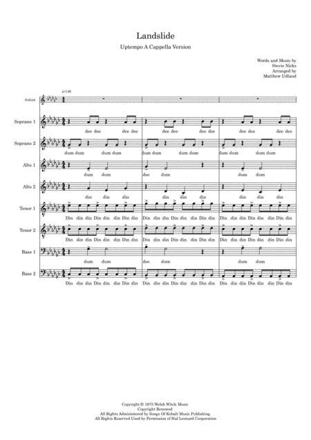 Landslide, Up-tempo version, A Cappella SSAATTBB plus Soloist
