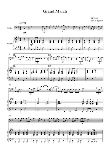 Grand March (Aida), Giuseppe Verdi, For Cello & Piano