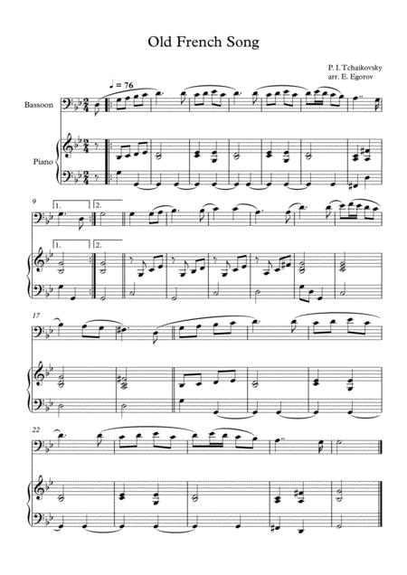 Old French Song, Peter Ilyich Tchaikovsky, For Bassoon & Piano