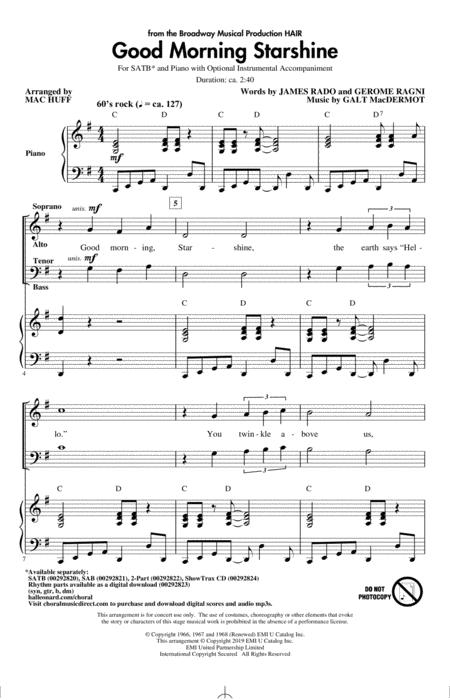 Good Morning Starshine (from the musical Hair) (arr. Mac Huff)